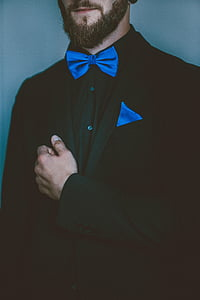 black and blue formal suit