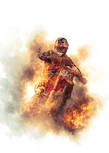 man riding motocross dirt motorcycle painting