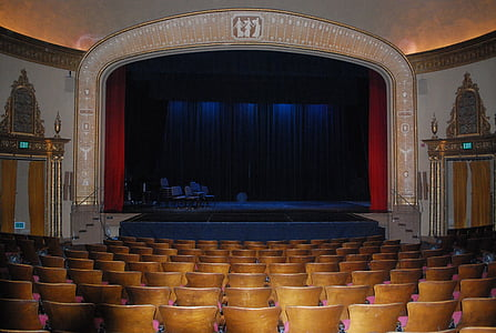 empty chairs on stage interior