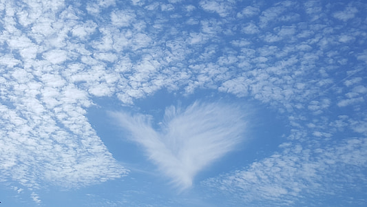 heart-shaped clouds photograph