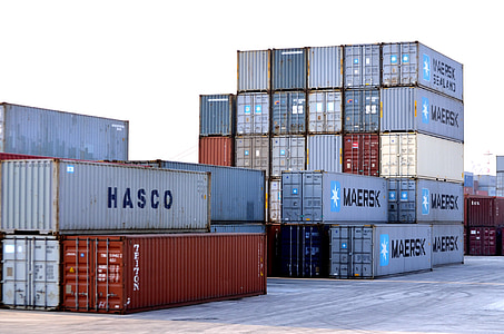 pile of intermodal containers