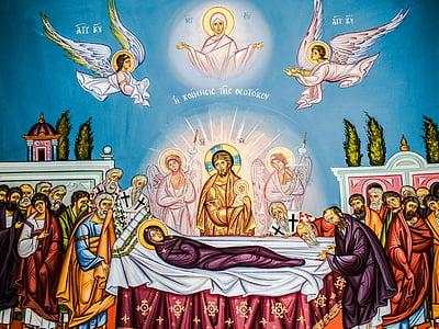 the assumption of virgin mary, iconography, painting, byzantine style, religion, orthodox