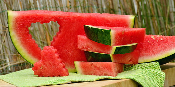 watermelon sliced into pieces