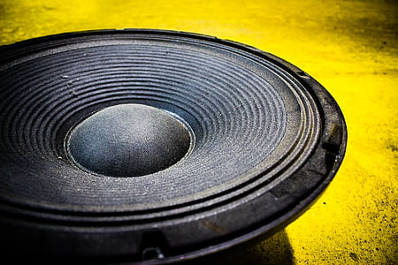 close up photo of black subwoofer