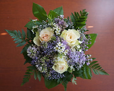 yellow and purple floral bouquet