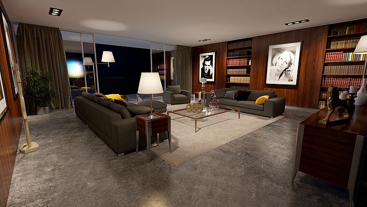 gray sofa in a living room