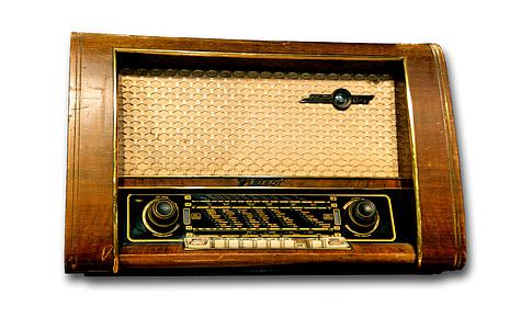 brown console radio