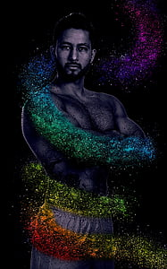 man wearing white shorts with assorted-color glitter