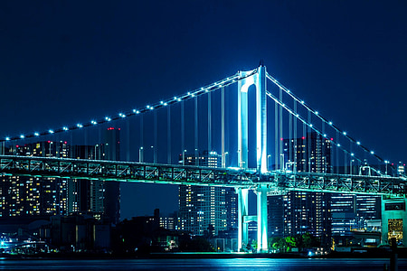photo of Manhattan bridge at nighttime