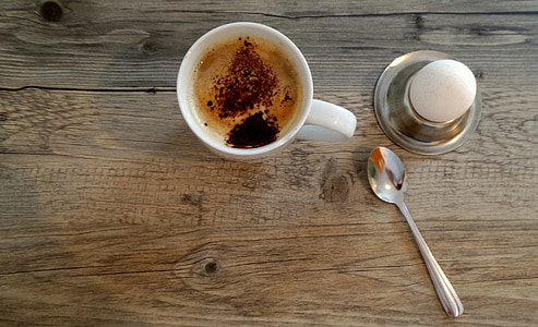 coffee, cake, coffee mugs, eat, breakfast, egg