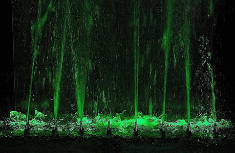 water fountain with green LED light