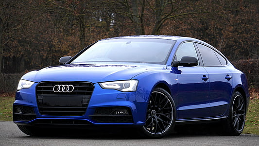 blue Audi A5 sedan near trees
