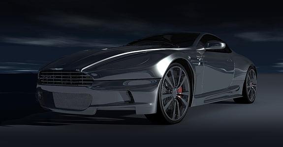 black Aston Martin coupe