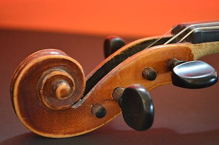 brown wooden string instrument head