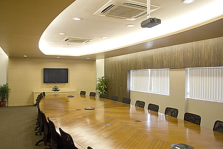 brown and gray painted conference room taken