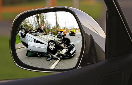 wreck car on side mirror