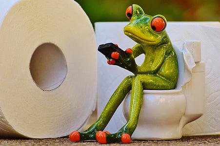 frog sitting on toilet holding phone figurine