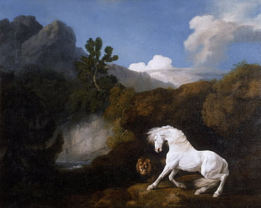 white horse and male lion near body of water