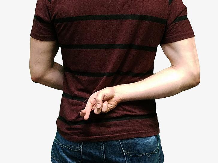 men in maroon shirt with finger cross sign