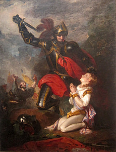 painting of soldier holding sword