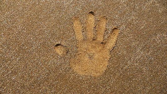 hand printed on sand