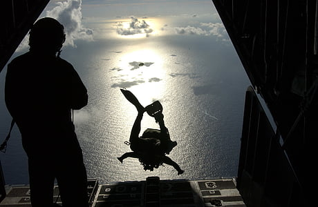 silhouette photo of person dived from the plane