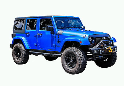 blue and black Jeep Wrangler SUV