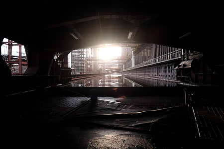 architectural photography of tunnel