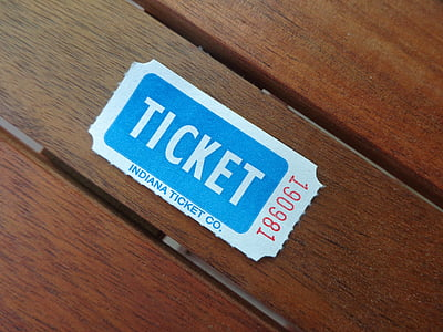 white and blue Indiana ticket