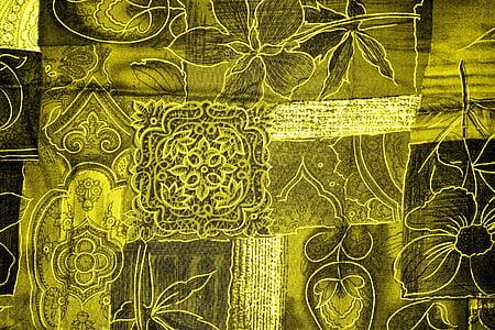 green floral textile