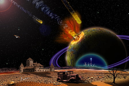 comets and planets illustration