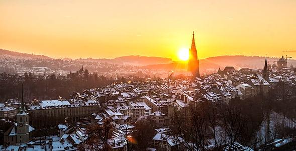 bird's eye view of city under golden hour