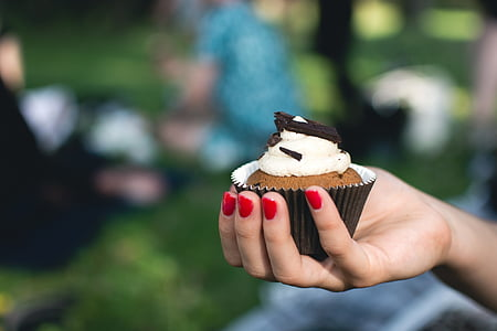 person holding cupcake