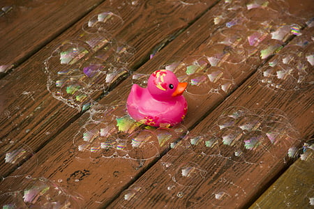 pink bathroom duck on wooden surface with bubbles