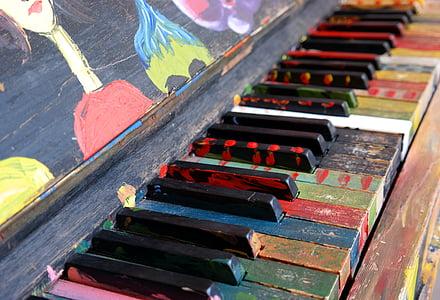 multicolored piano keys
