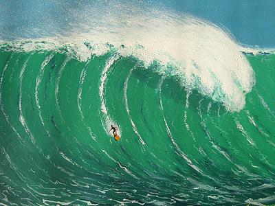 man under huge wave