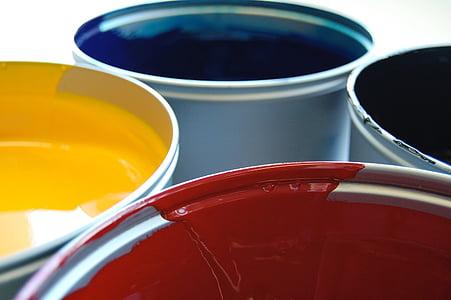 selective focus of four paints