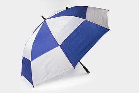 white and blue folding umbrella
