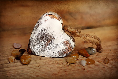 white and brown heart decor