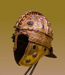 selective focus photography of warrior helmet