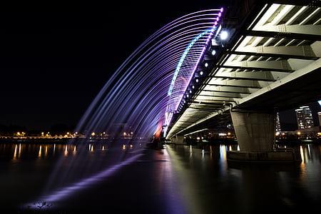 gray bridge at night time