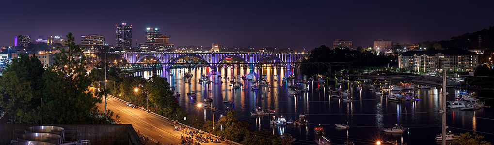 panoramic photography of bridge during night time