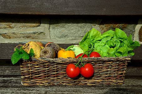bunch of vegetables in basket