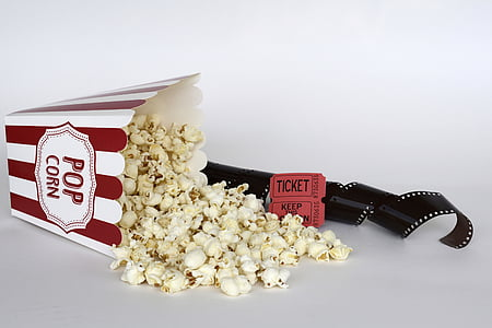 popcorn and cinema film and tickets