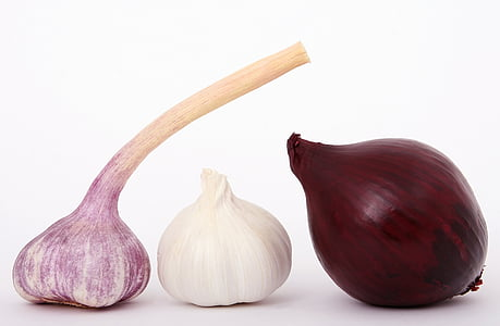 two red onions and white garlic bulb