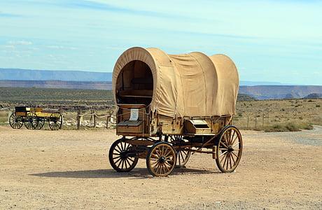 brown carriage under white cloud blue skies