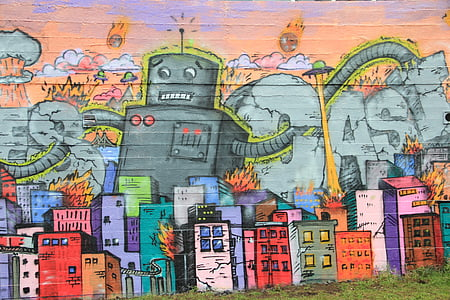 sketch of gray robot and buildings