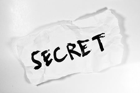 Secret text on white piece of paper