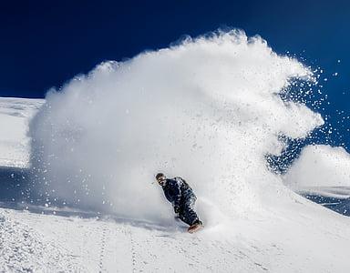 man wearing black suit riding snowboard on snow photo