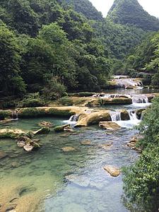 water flowing in river between trees